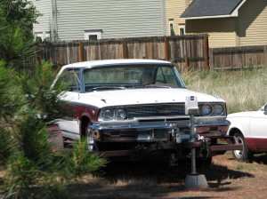 Cool 1963 1/2 Galaxie Fastback sitting on a trailer near Bend, Oregon.